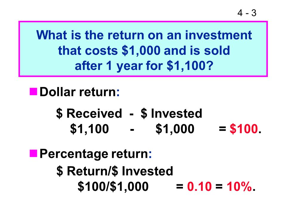 4 - 3 What is the return on an investment that costs $1,000 and is sold after 1 year for $1,100? Dollar return: Percentage return: $ Received - $ Inve