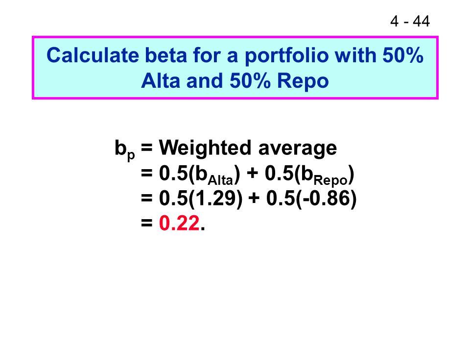 4 - 44 Calculate beta for a portfolio with 50% Alta and 50% Repo b p = Weighted average = 0.5(b Alta ) + 0.5(b Repo ) = 0.5(1.29) + 0.5(-0.86) = 0.22.