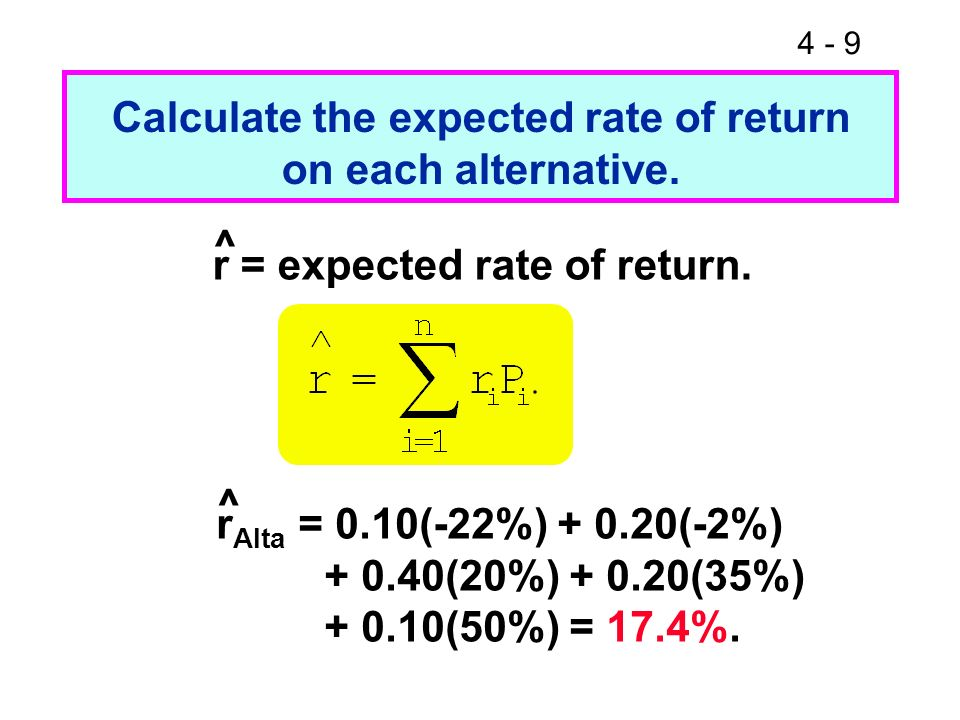 4 - 40 Use the SML to calculate each alternatives required return.