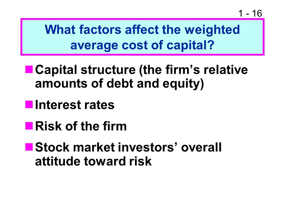 1 - 16 What factors affect the weighted average cost of capital? Capital structure (the firms relative amounts of debt and equity) Interest rates Risk