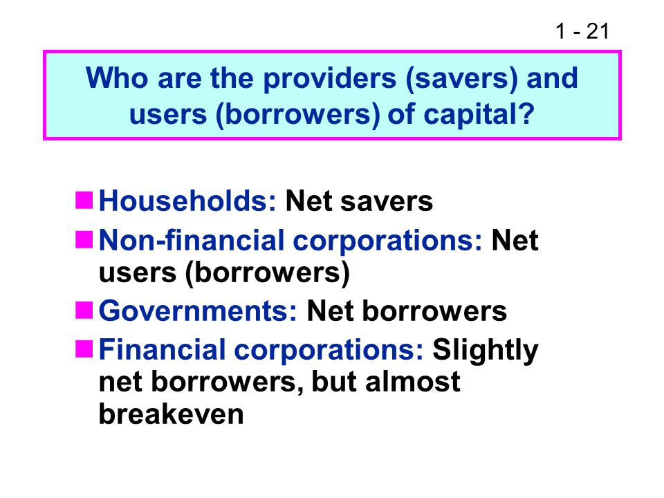 1 - 21 Who are the providers (savers) and users (borrowers) of capital? Households: Net savers Non-financial corporations: Net users (borrowers) Gover