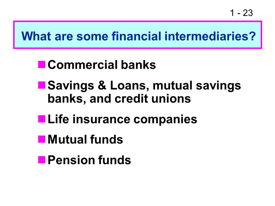 1 - 23 Commercial banks Savings & Loans, mutual savings banks, and credit unions Life insurance companies Mutual funds Pension funds What are some fin