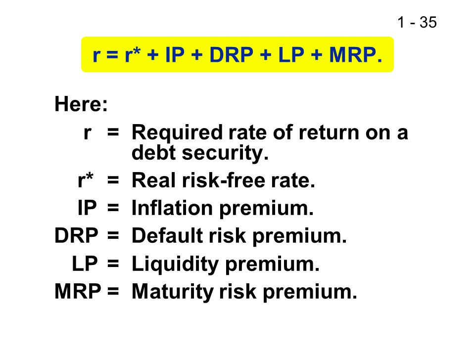 1 - 35 r = r* + IP + DRP + LP + MRP. Here: r=Required rate of return on a debt security. r*= Real risk-free rate. IP= Inflation premium. DRP= Default