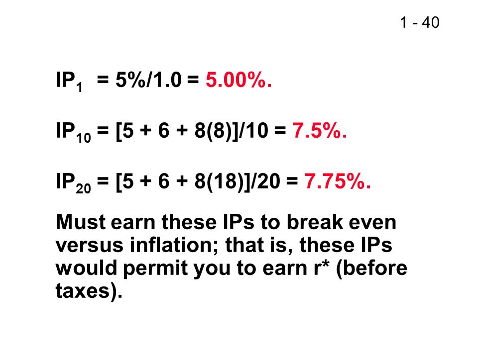1 - 40 IP 1 = 5%/1.0 = 5.00%. IP 10 = [5 + 6 + 8(8)]/10 = 7.5%. IP 20 = [5 + 6 + 8(18)]/20 = 7.75%. Must earn these IPs to break even versus inflation