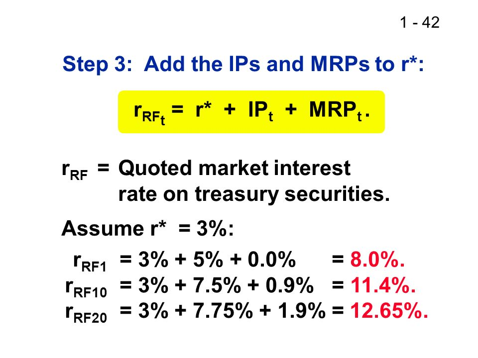 1 - 42 Step 3: Add the IPs and MRPs to r*: r RF t = r* + IP t + MRP t. r RF =Quoted market interest rate on treasury securities. Assume r* = 3%: r RF1