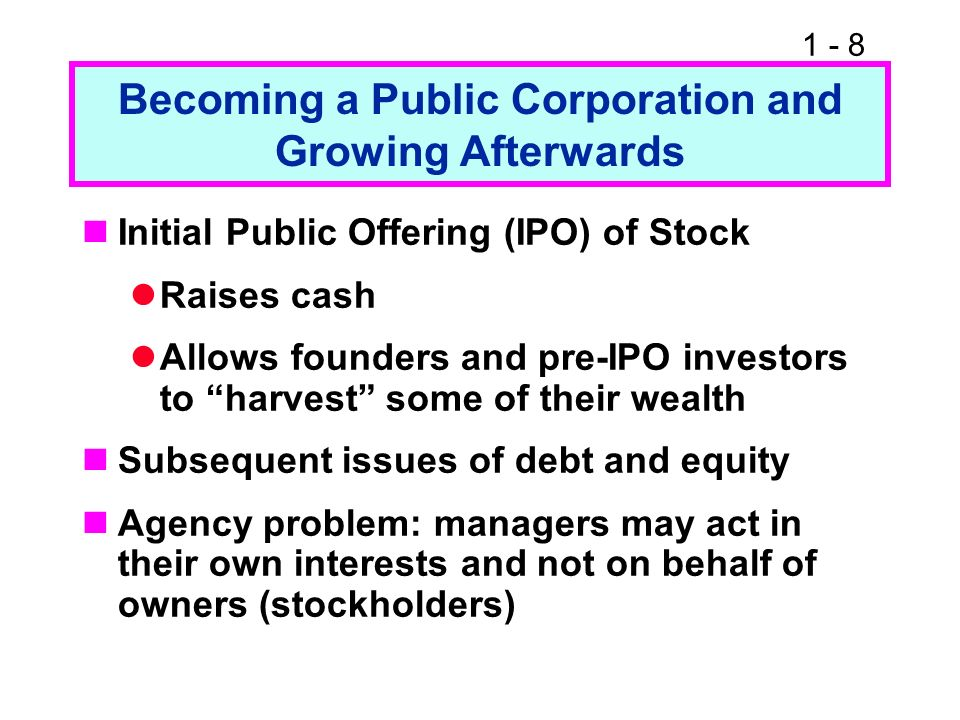 1 - 8 Becoming a Public Corporation and Growing Afterwards Initial Public Offering (IPO) of Stock Raises cash Allows founders and pre-IPO investors to