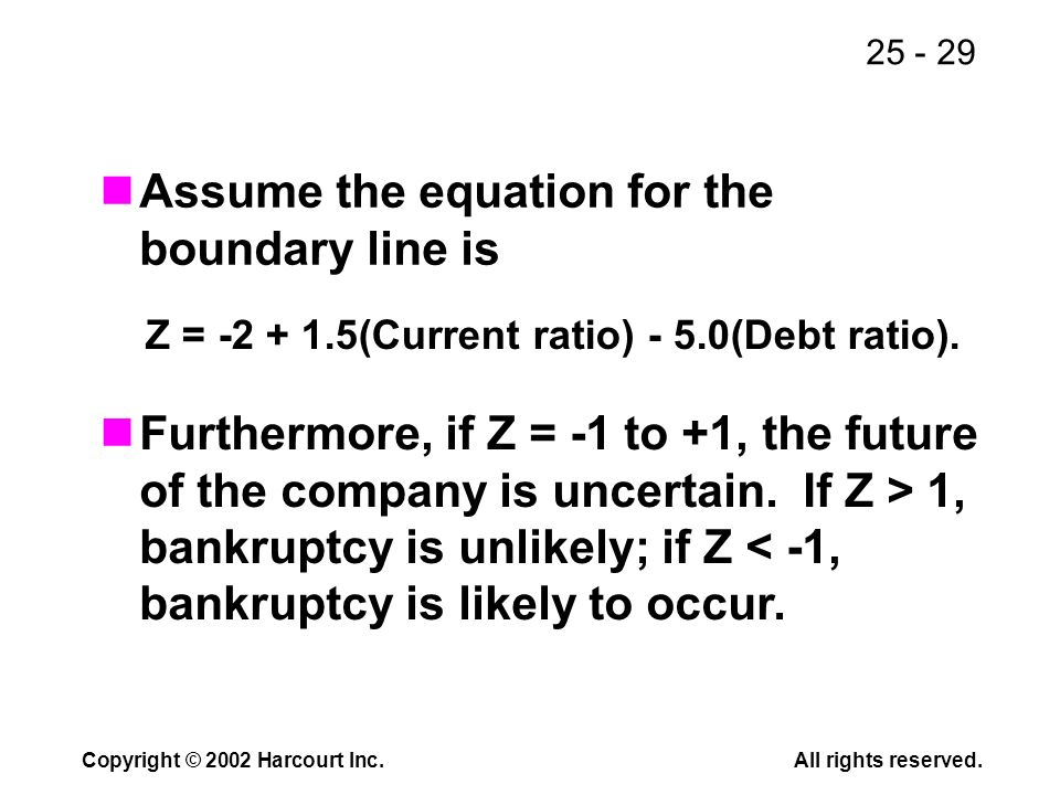 25 - 29 Copyright © 2002 Harcourt Inc.All rights reserved. Assume the equation for the boundary line is Z = -2 + 1.5(Current ratio) - 5.0(Debt ratio).
