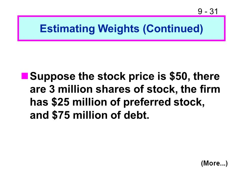 9 - 31 Estimating Weights (Continued) Suppose the stock price is $50, there are 3 million shares of stock, the firm has $25 million of preferred stock