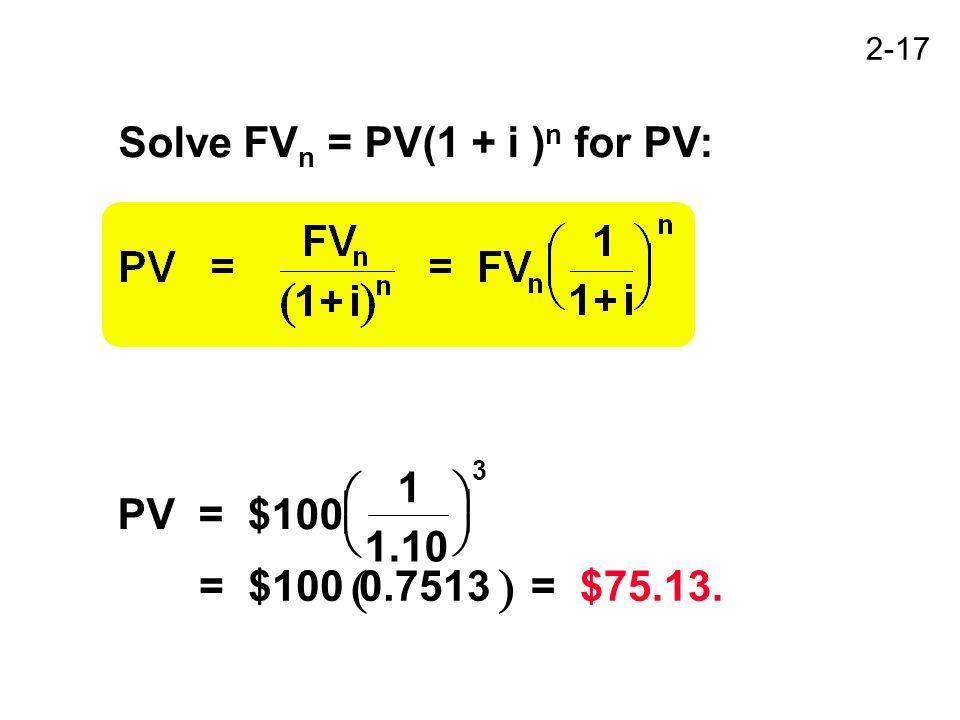 2-17 Solve FV n = PV(1 + i ) n for PV: PV= $100 1 1.10 = $1000.7513 = $75.13. 3