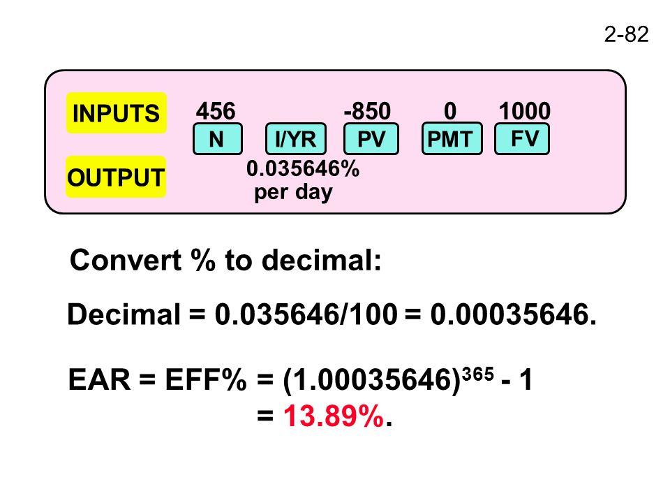 2-82 456-850 0 1000 0.035646% per day INPUTS OUTPUT NI/YRPV FV PMT Convert % to decimal: Decimal = 0.035646/100 = 0.00035646.