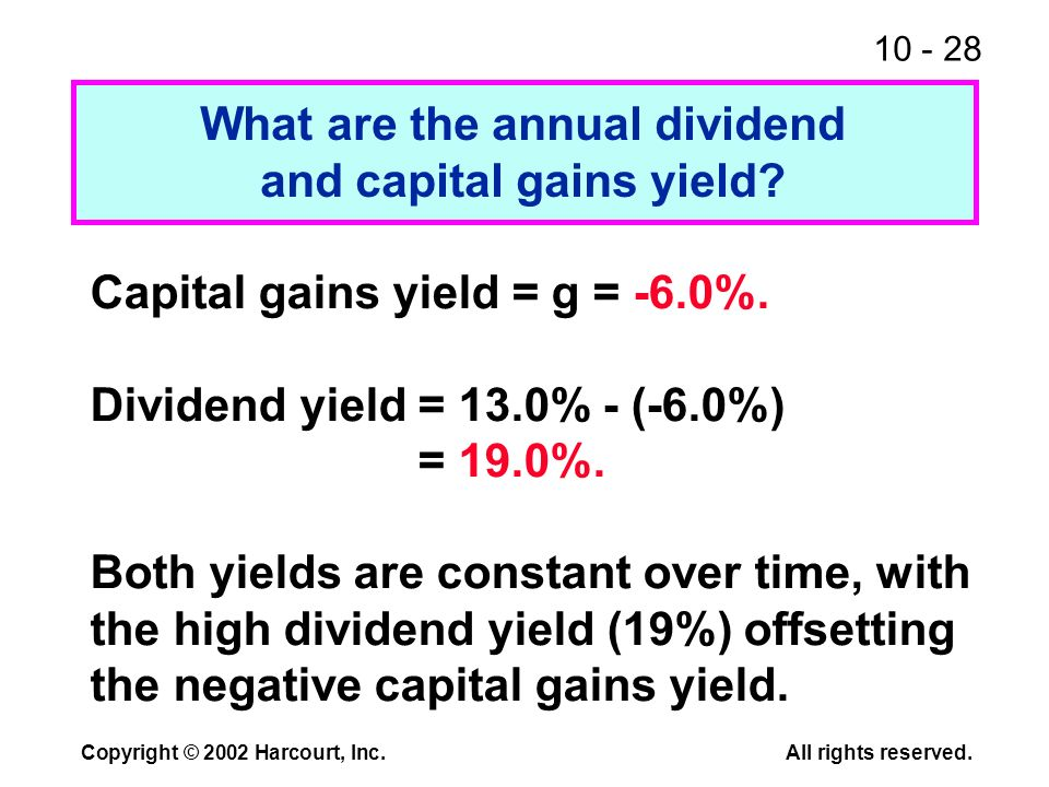 10 - 28 Copyright © 2002 Harcourt, Inc.All rights reserved. What are the annual dividend and capital gains yield? Capital gains yield = g = -6.0%. Div