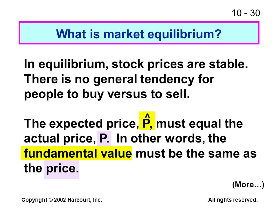 10 - 30 Copyright © 2002 Harcourt, Inc.All rights reserved. What is market equilibrium? ^ In equilibrium, stock prices are stable. There is no general
