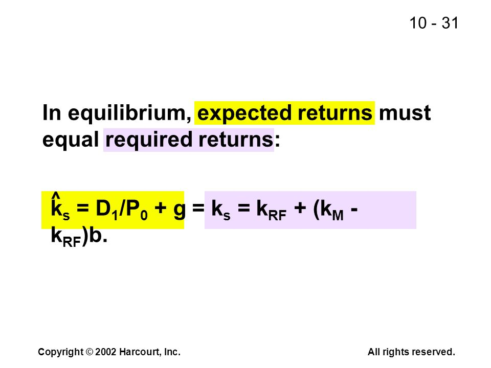10 - 31 Copyright © 2002 Harcourt, Inc.All rights reserved. In equilibrium, expected returns must equal required returns: k s = D 1 /P 0 + g = k s = k