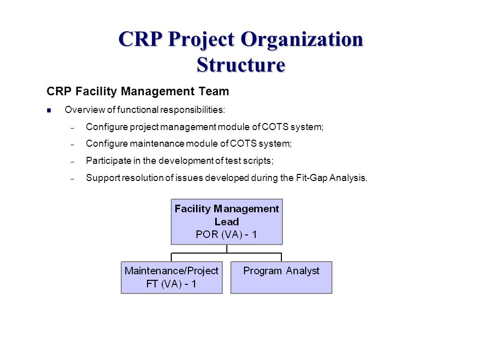 CRP Project Organization Structure CRP Facility Management Team Overview of functional responsibilities: – Configure project management module of COTS