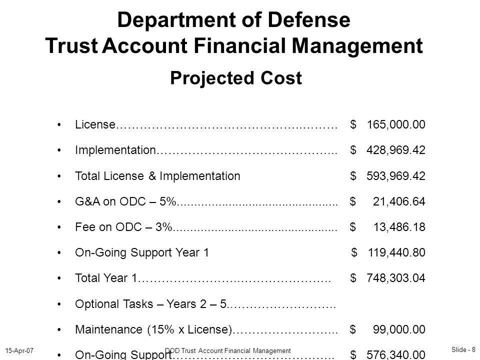 Slide - 8 15-Apr-07DOD Trust Account Financial Management Department of Defense Trust Account Financial Management Projected Cost License………………………………………..……… Implementation…………………………….………...
