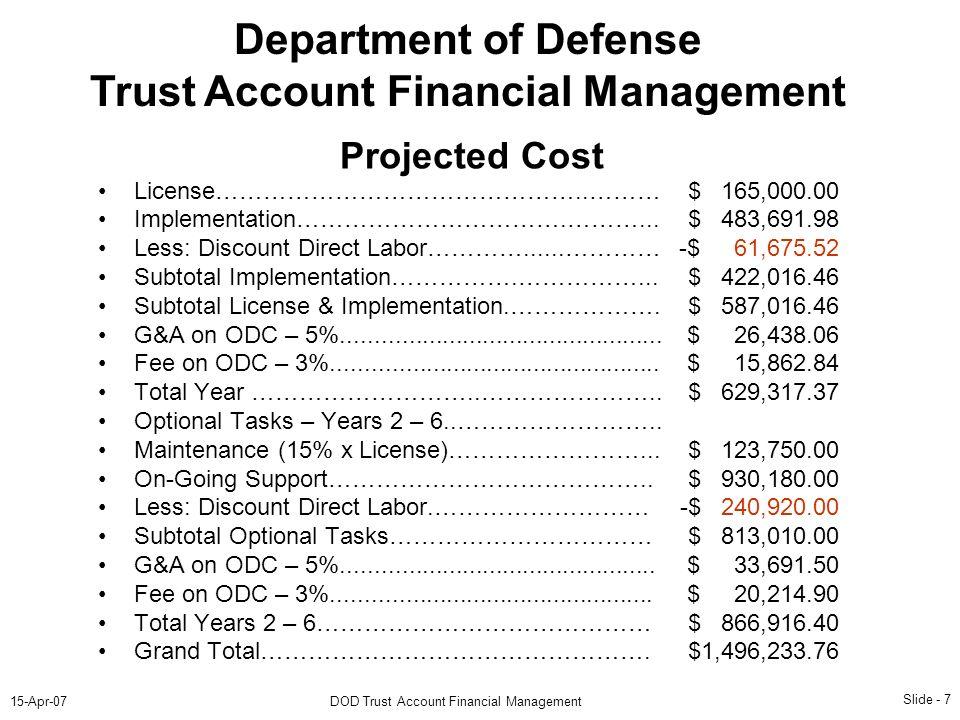Slide - 7 15-Apr-07DOD Trust Account Financial Management Department of Defense Trust Account Financial Management License………………………………………..……… Implementation…………………………….………...