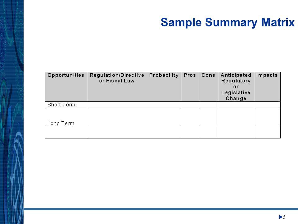 Change Management Center 5 Sample Summary Matrix