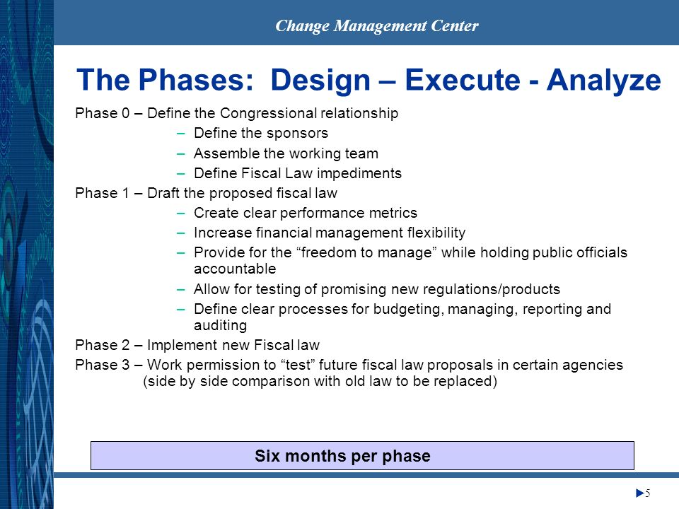 Change Management Center 5 The Phases: Design – Execute - Analyze Phase 0 – Define the Congressional relationship –Define the sponsors –Assemble the working team –Define Fiscal Law impediments Phase 1 – Draft the proposed fiscal law –Create clear performance metrics –Increase financial management flexibility –Provide for the freedom to manage while holding public officials accountable –Allow for testing of promising new regulations/products –Define clear processes for budgeting, managing, reporting and auditing Phase 2 – Implement new Fiscal law Phase 3 – Work permission to test future fiscal law proposals in certain agencies (side by side comparison with old law to be replaced) Six months per phase