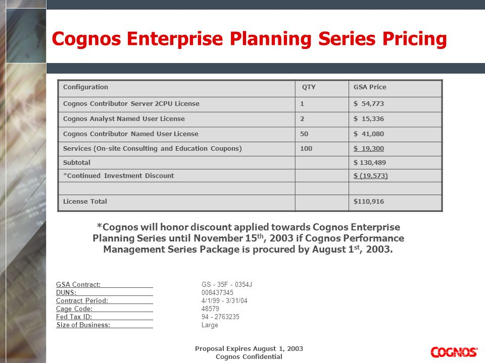 Proposal Expires August 1, 2003 Cognos Confidential Cognos Enterprise Planning Series Pricing GSA Contract:GS - 35F - 0354J DUNS:008437345 Contract Period:4/1/99 - 3/31/04 Cage Code:48579 Fed Tax ID:94 - 2763235 Size of Business:Large Configuration QTYGSA Price Cognos Contributor Server 2CPU License1$ 54,773 Cognos Analyst Named User License2$ 15,336 Cognos Contributor Named User License50$ 41,080 Services (On-site Consulting and Education Coupons)100$ 19,300 Subtotal$ 130,489 *Continued Investment Discount$ (19,573) License Total$110,916 *Cognos will honor discount applied towards Cognos Enterprise Planning Series until November 15 th, 2003 if Cognos Performance Management Series Package is procured by August 1 st, 2003.