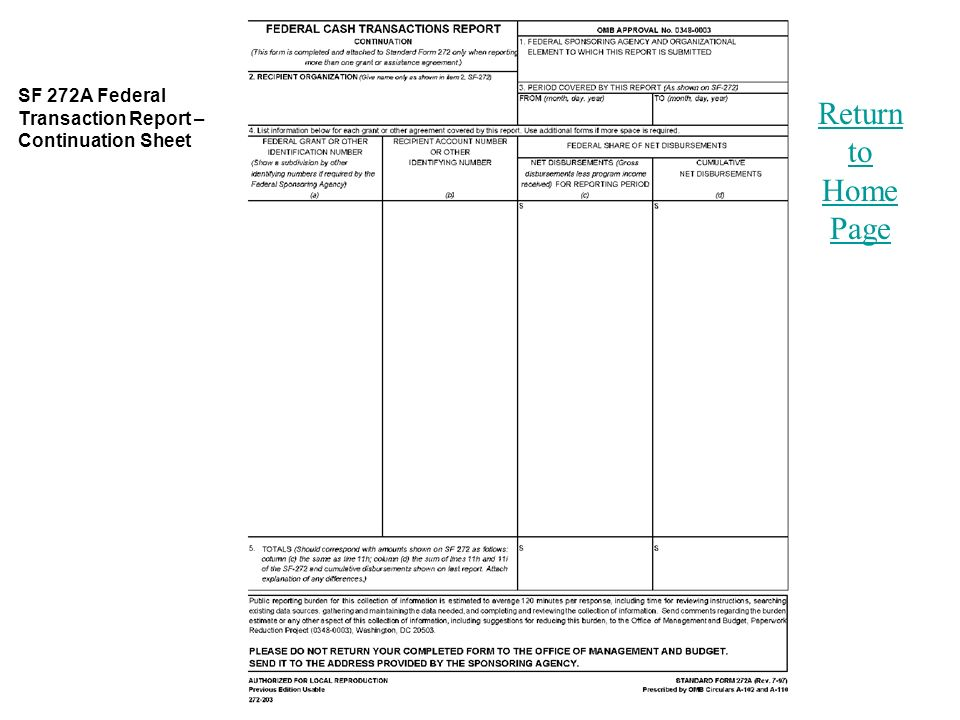 Return to Home Page SF 272A Federal Transaction Report – Continuation Sheet
