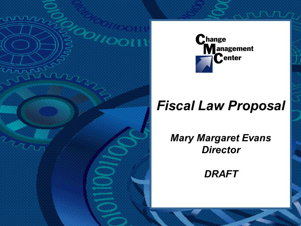 Fiscal Law Proposal Mary Margaret Evans Director DRAFT
