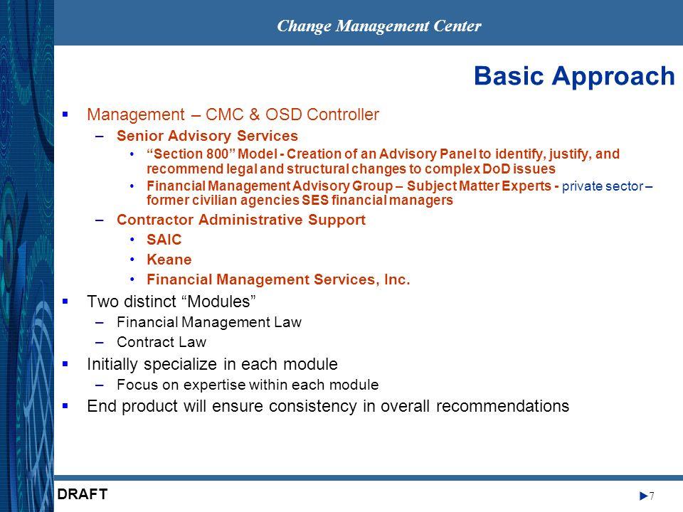 Change Management Center 7 DRAFT Basic Approach Management – CMC & OSD Controller –Senior Advisory Services Section 800 Model - Creation of an Advisor