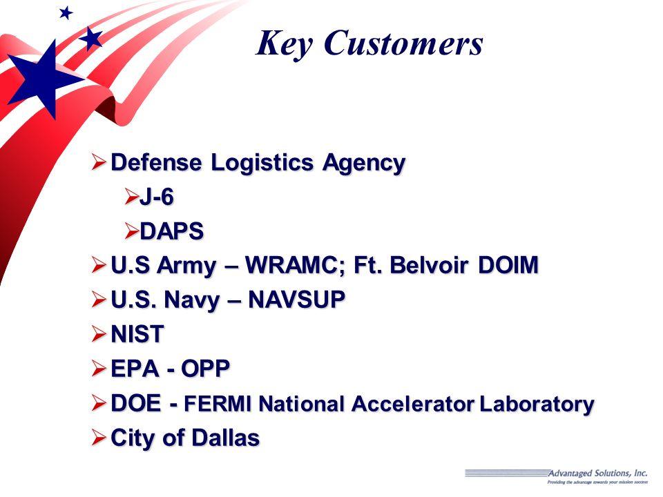 Key Customers Defense Logistics Agency Defense Logistics Agency J-6 J-6 DAPS DAPS U.S Army – WRAMC; Ft.