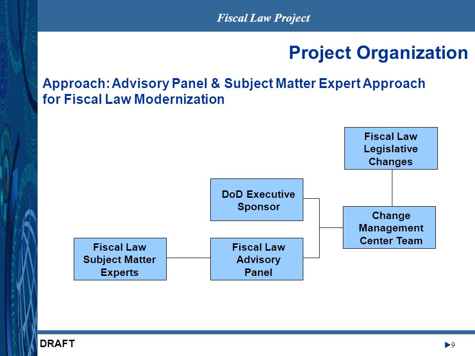 Fiscal Law Project 9 DRAFT Project Organization DoD Executive Sponsor Fiscal Law Advisory Panel Change Management Center Team Fiscal Law Subject Matter Experts Fiscal Law Legislative Changes Approach: Advisory Panel & Subject Matter Expert Approach for Fiscal Law Modernization