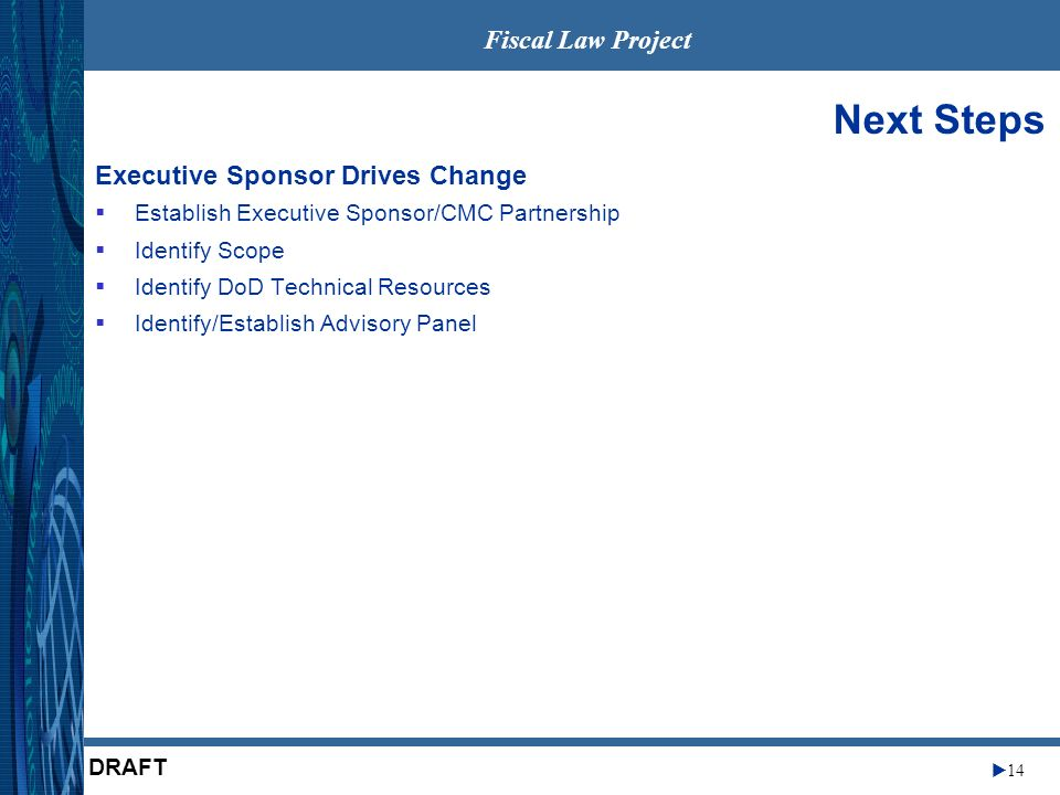 Fiscal Law Project 14 DRAFT Next Steps Executive Sponsor Drives Change Establish Executive Sponsor/CMC Partnership Identify Scope Identify DoD Technical Resources Identify/Establish Advisory Panel