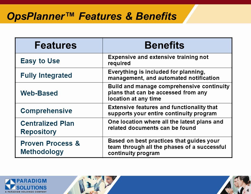 4 OpsPlanner Features & Benefits Features Benefits Easy to Use Expensive and extensive training not required Fully Integrated Everything is included for planning, management, and automated notification Web-Based Build and manage comprehensive continuity plans that can be accessed from any location at any time Comprehensive Extensive features and functionality that supports your entire continuity program Centralized Plan Repository One location where all the latest plans and related documents can be found Proven Process & Methodology Based on best practices that guides your team through all the phases of a successful continuity program