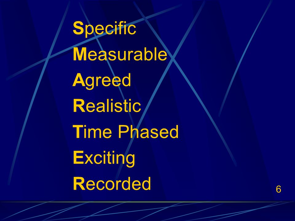 6 Specific Measurable Agreed Realistic Time Phased Exciting Recorded
