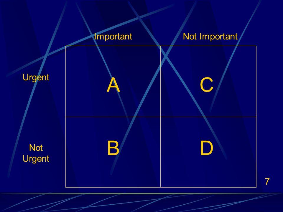 7 ImportantNot Important Urgent Not Urgent AC BD