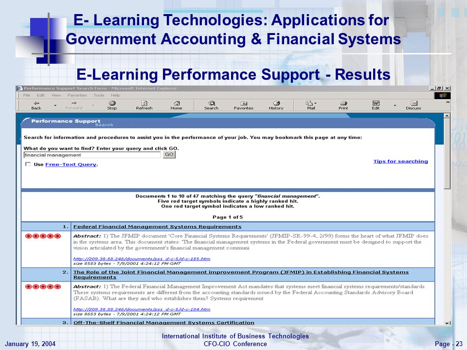 E- Learning Technologies: Applications for Government Accounting & Financial Systems Page - 23 January 19, 2004 International Institute of Business Technologies CFO-CIO Conference E-Learning Performance Support - Results