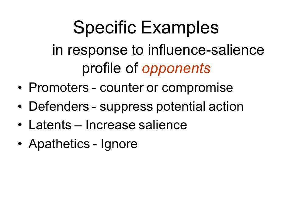 Specific Examples in response to influence-salience profile of opponents Promoters - counter or compromise Defenders - suppress potential action Latents – Increase salience Apathetics - Ignore