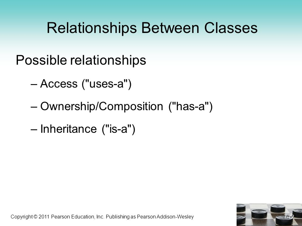 Copyright © 2011 Pearson Education, Inc. Publishing as Pearson Addison-Wesley Relationships Between Classes Possible relationships –Access (