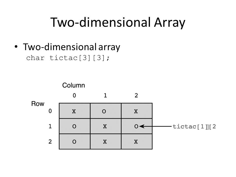 Two-dimensional Array Two-dimensional array char tictac[3][3];