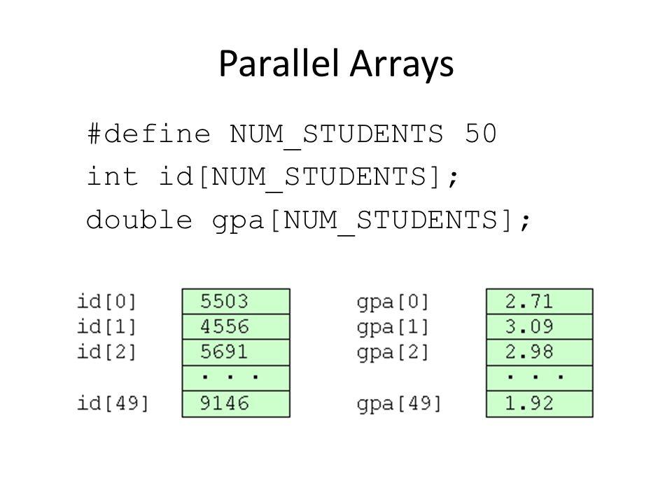 Parallel Arrays #define NUM_STUDENTS 50 int id[NUM_STUDENTS]; double gpa[NUM_STUDENTS];