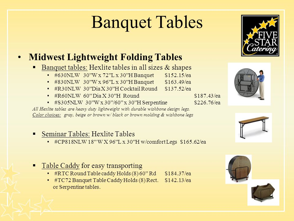 Banquet Tables Midwest Lightweight Folding Tables Banquet tables: Hexlite tables in all sizes & shapes #630NLW 30W x 72L x 30H Banquet$152.15/ea #830NLW 30W x 96L x 30H Banquet$163.49/ea #R30NLW 30Dia X 30H Cocktail Round$137.52/ea #R60NLW 60 Dia X 30H Round $187.43/ea #S305NLW 30W x 30/60 x 30H Serpentine$226.76/ea All Hexlite tables are heavy duty lightweight with durable wishbone design legs.