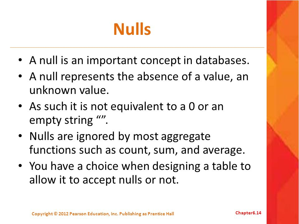 Nulls A null is an important concept in databases.