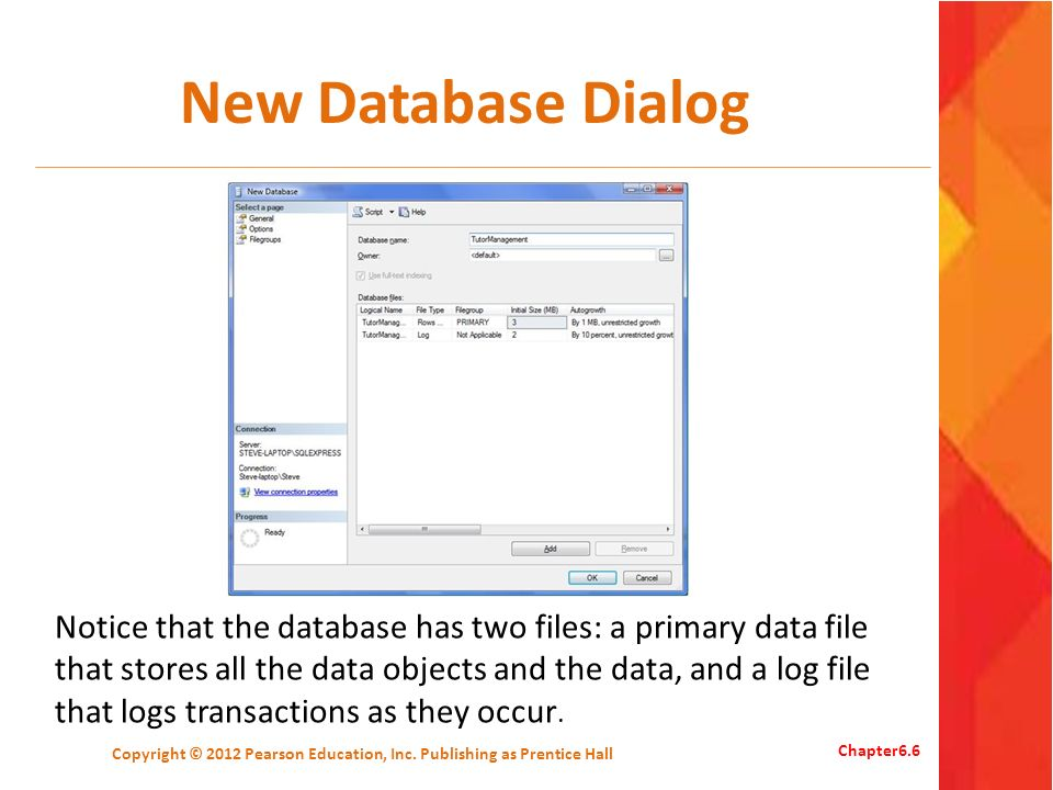 New Database Dialog Copyright © 2012 Pearson Education, Inc.