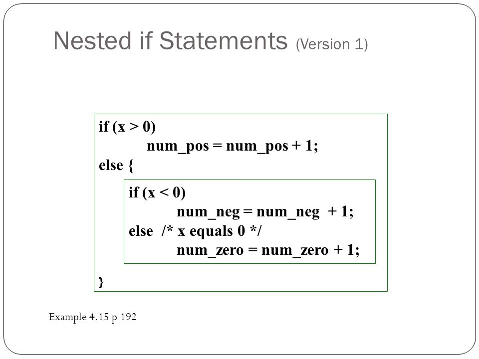 Nested if Statements (Version 1) if (x > 0) num_pos = num_pos + 1; else { } if (x < 0) num_neg = num_neg + 1; else /* x equals 0 */ num_zero = num_zer