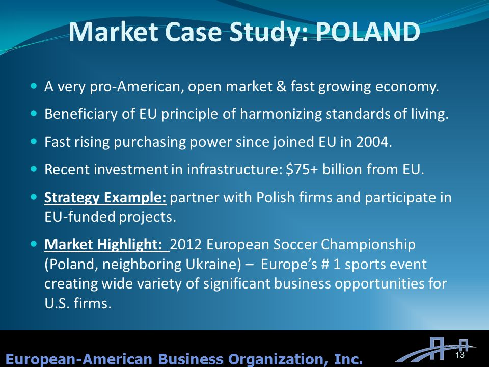 Market Case Study: POLAND A very pro-American, open market & fast growing economy.