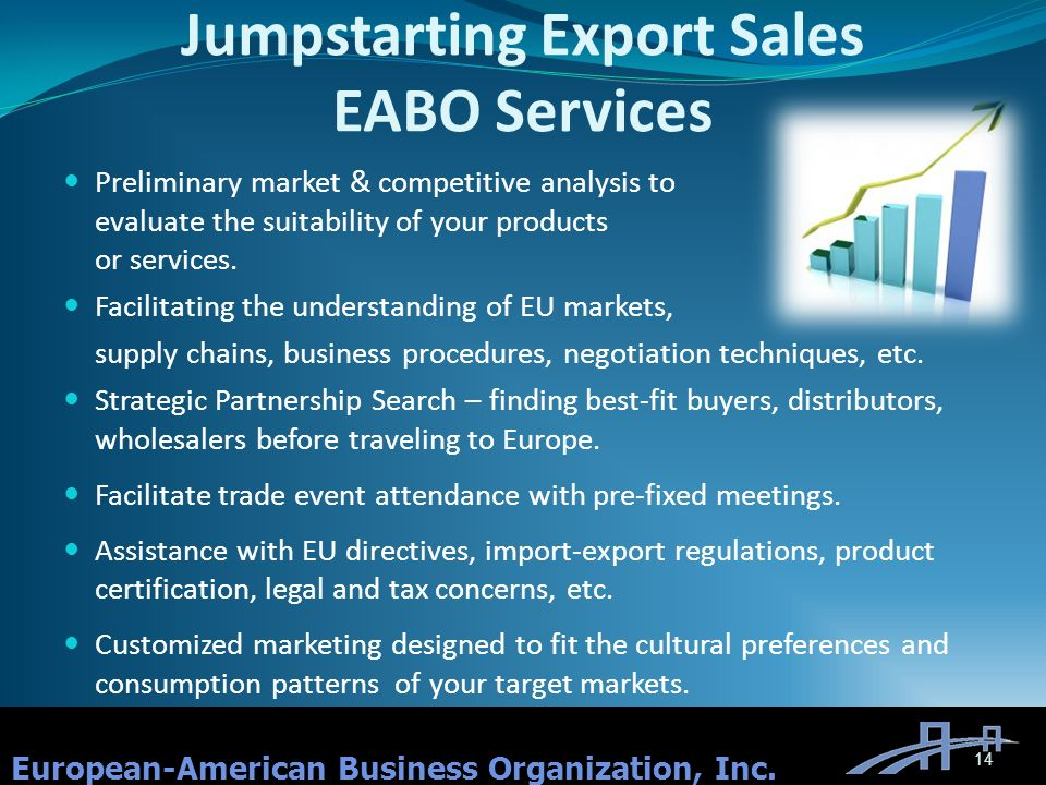 Jumpstarting Export Sales EABO Services Preliminary market & competitive analysis to evaluate the suitability of your products or services.