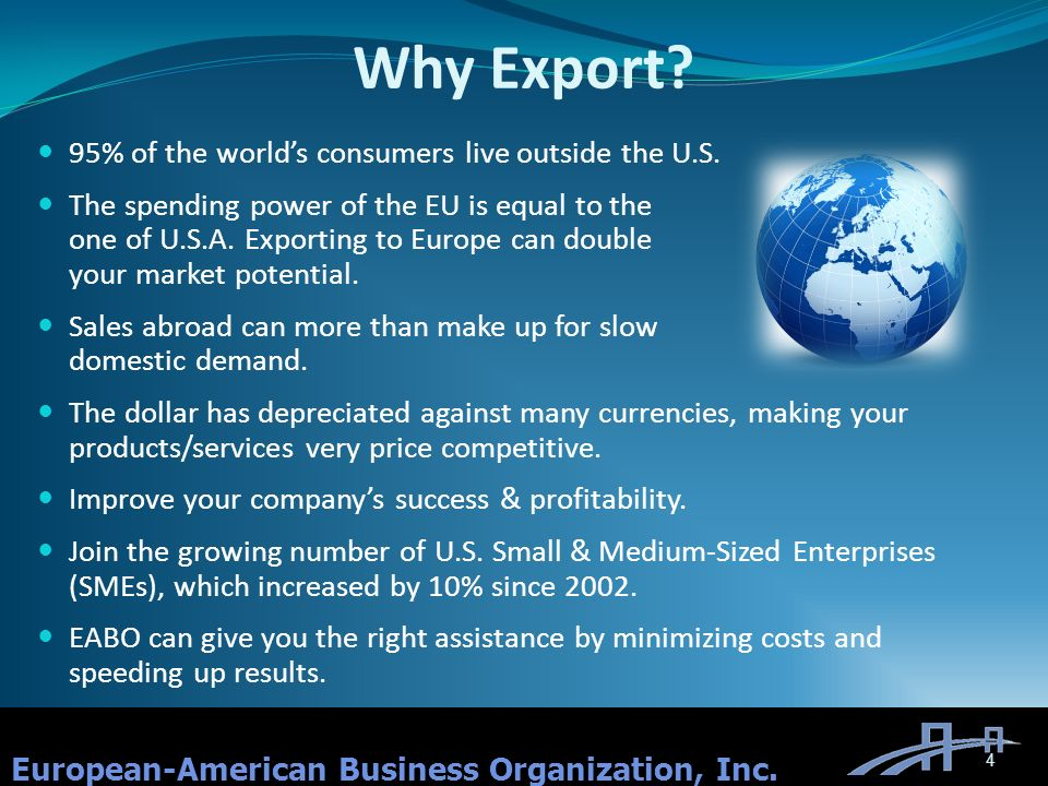 Why Export. European-American Business Organization, Inc.