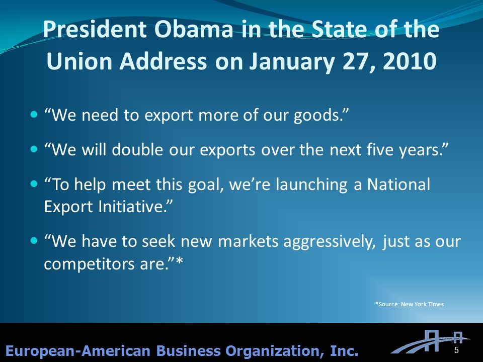 President Obama in the State of the Union Address on January 27, 2010 We need to export more of our goods.