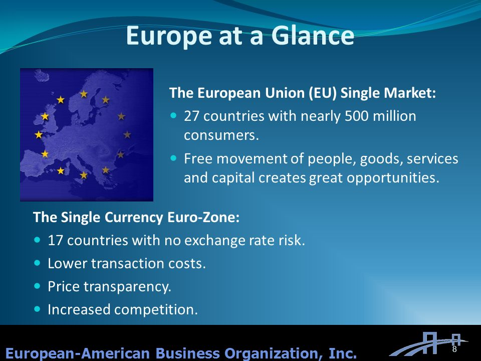 Europe at a Glance The European Union (EU) Single Market: 27 countries with nearly 500 million consumers.