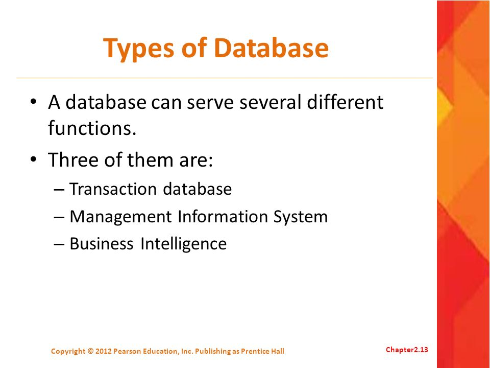 Types of Database A database can serve several different functions. Three of them are: – Transaction database – Management Information System – Busine