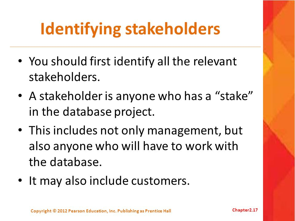 Identifying stakeholders You should first identify all the relevant stakeholders. A stakeholder is anyone who has a stake in the database project. Thi