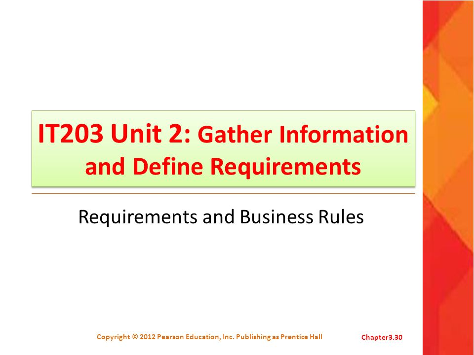 IT203 Unit 2: Gather Information and Define Requirements Requirements and Business Rules Copyright © 2012 Pearson Education, Inc. Publishing as Prenti