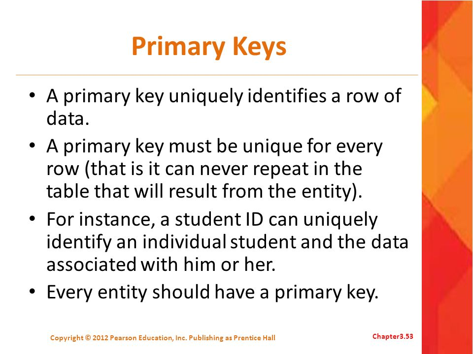 Primary Keys A primary key uniquely identifies a row of data. A primary key must be unique for every row (that is it can never repeat in the table tha